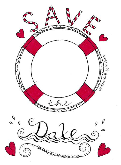 Handlettering Save the Date kaart met illustratie van reddingsboei, © Hilde Reurink