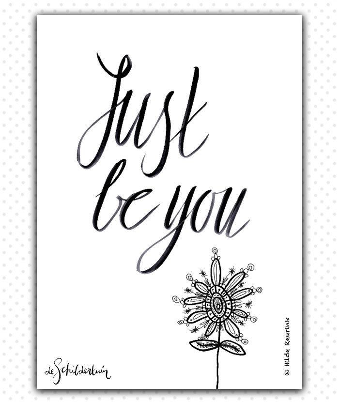 Woonkaart met handlettering tekst Just be you