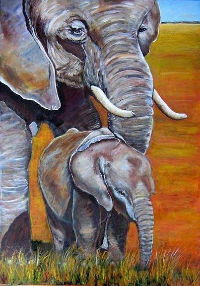Schilderij in beeld 8 afrikaanse olifanten door joke for Schilderij olifant