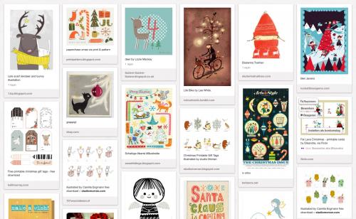 printscreen bord Kerst illustraties van de Schildertuin